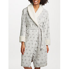 Buy John Lewis Heart Embossed Fleece Dressing Gown, Grey/Ivory Online at johnlewis.com
