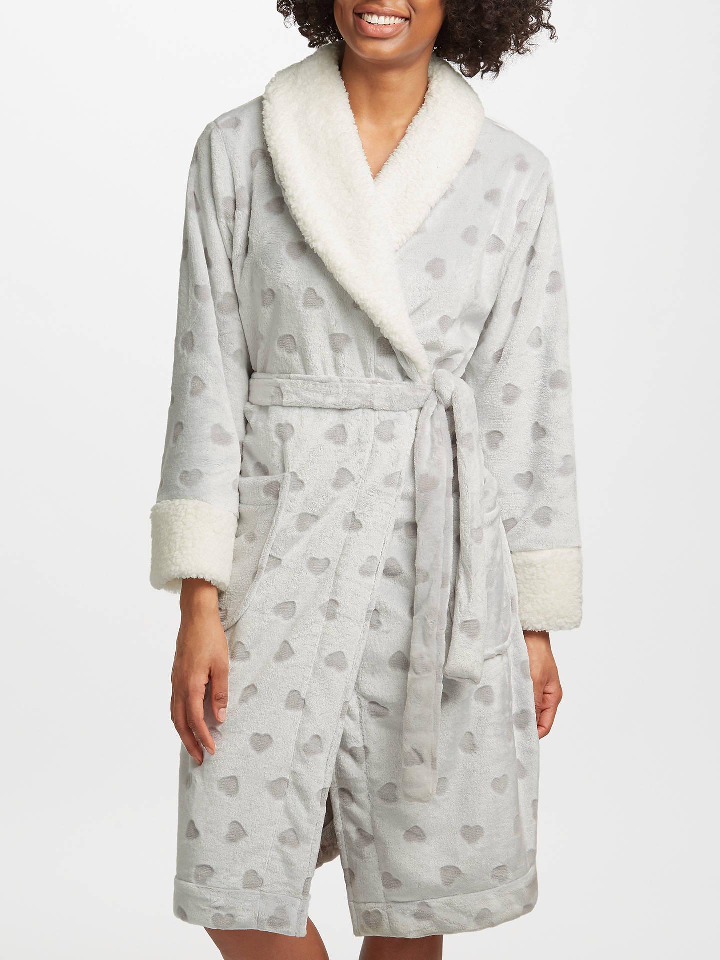 John Lewis Heart Embossed Fleece Dressing Gown, Grey/Ivory at John ...