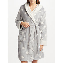 Buy John Lewis Star Embossed Fleece Dressing Gown, Grey/Ivory Online at johnlewis.com