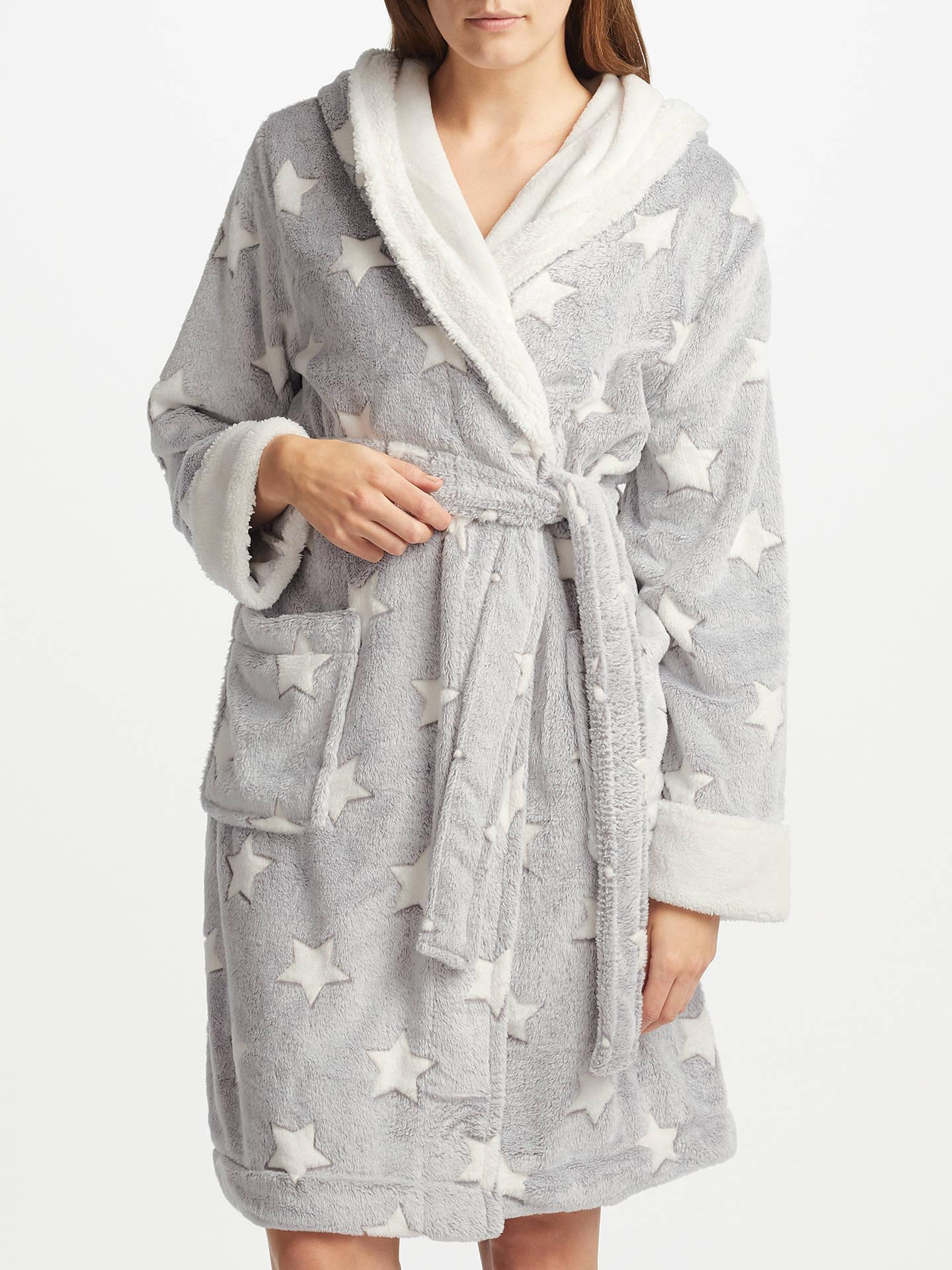 John Lewis Star Embossed Fleece Dressing Gown, Grey/Ivory at John ...