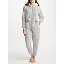 Buy John Lewis Pom Pom Fleece Onesie, Grey Online at johnlewis.com