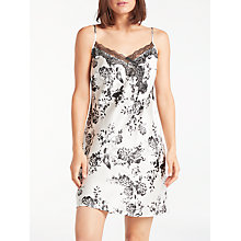 Buy John Lewis Silk Willow Flower Print Chemise, Ivory/Charcoal Online at johnlewis.com