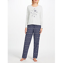 Buy John Lewis Ola Snowflake Pyjama Set, Navy/Multi Online at johnlewis.com