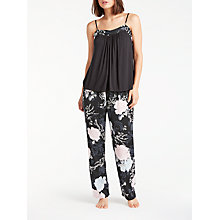 Buy John Lewis Gloria Floral Print Satin Pyjama Set, Grey/Multi Online at johnlewis.com