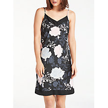 Buy John Lewis Gloria Floral Print Satin Chemise, Black/Multi Online at johnlewis.com