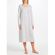 Buy John Lewis Evelyn Floral Print Long Sleeve Nightdress, Ivory/Multi Online at johnlewis.com