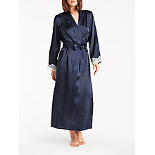 Buy John Lewis Silk Lace Trim Long Dressing Gown, Navy/Ivory Online at johnlewis.com