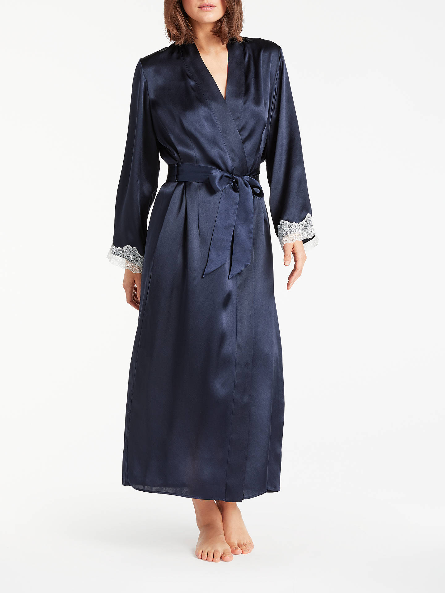 cf8ee0e4405 Buy John Lewis Silk Lace Trim Long Dressing Gown