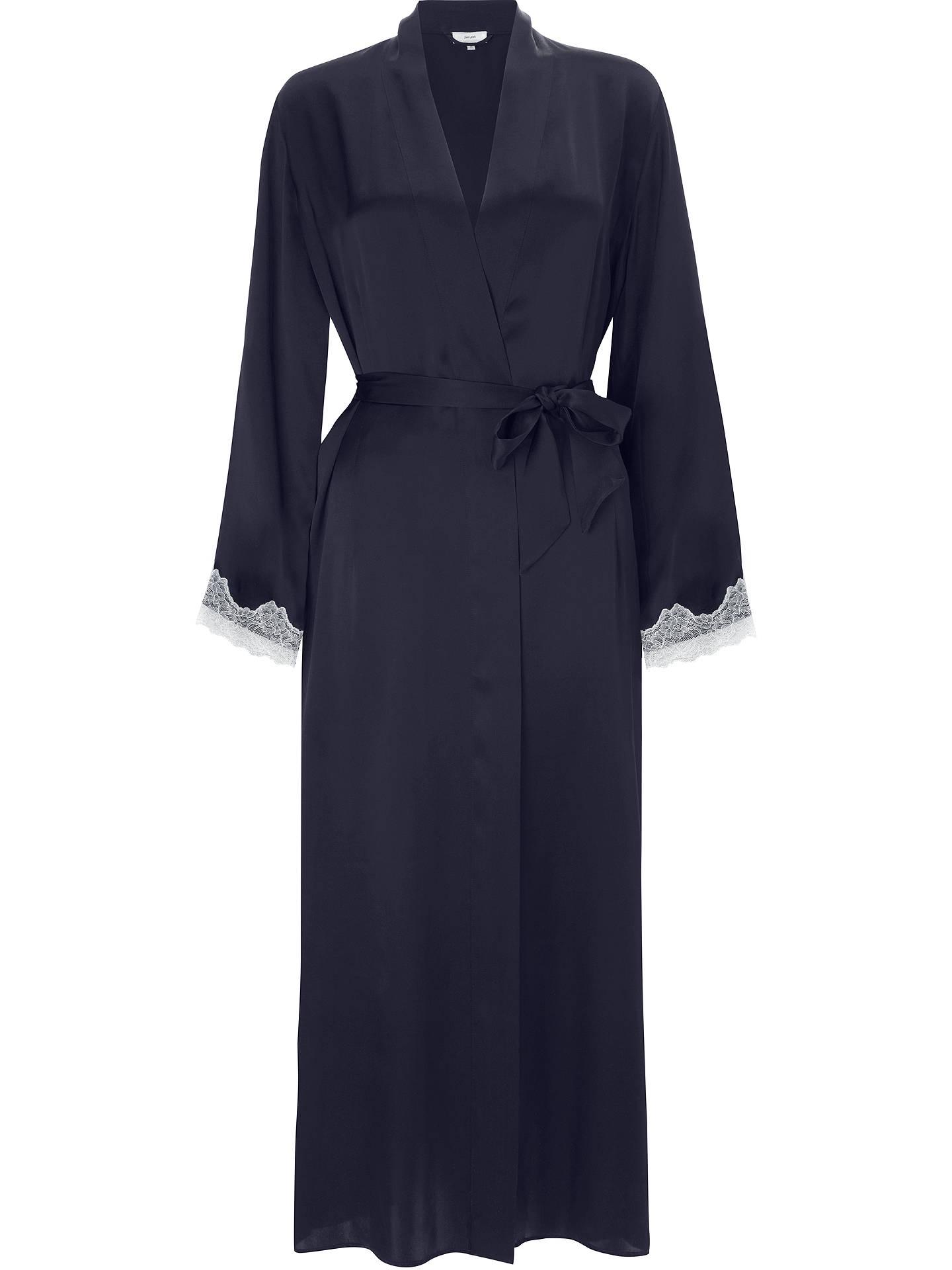 John Lewis Silk Lace Trim Long Dressing Gown, Navy/Ivory at John ...