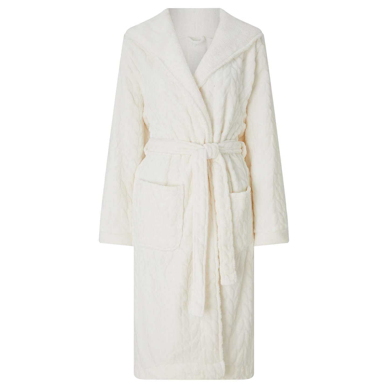 John Lewis Leaf Embossed Fleece Dressing Gown, Ivory
