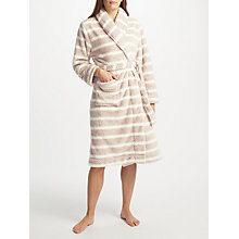 Buy John Lewis Stripe Waffle Fleece Dressing Gown, Taupe/Ivory Online at johnlewis.com