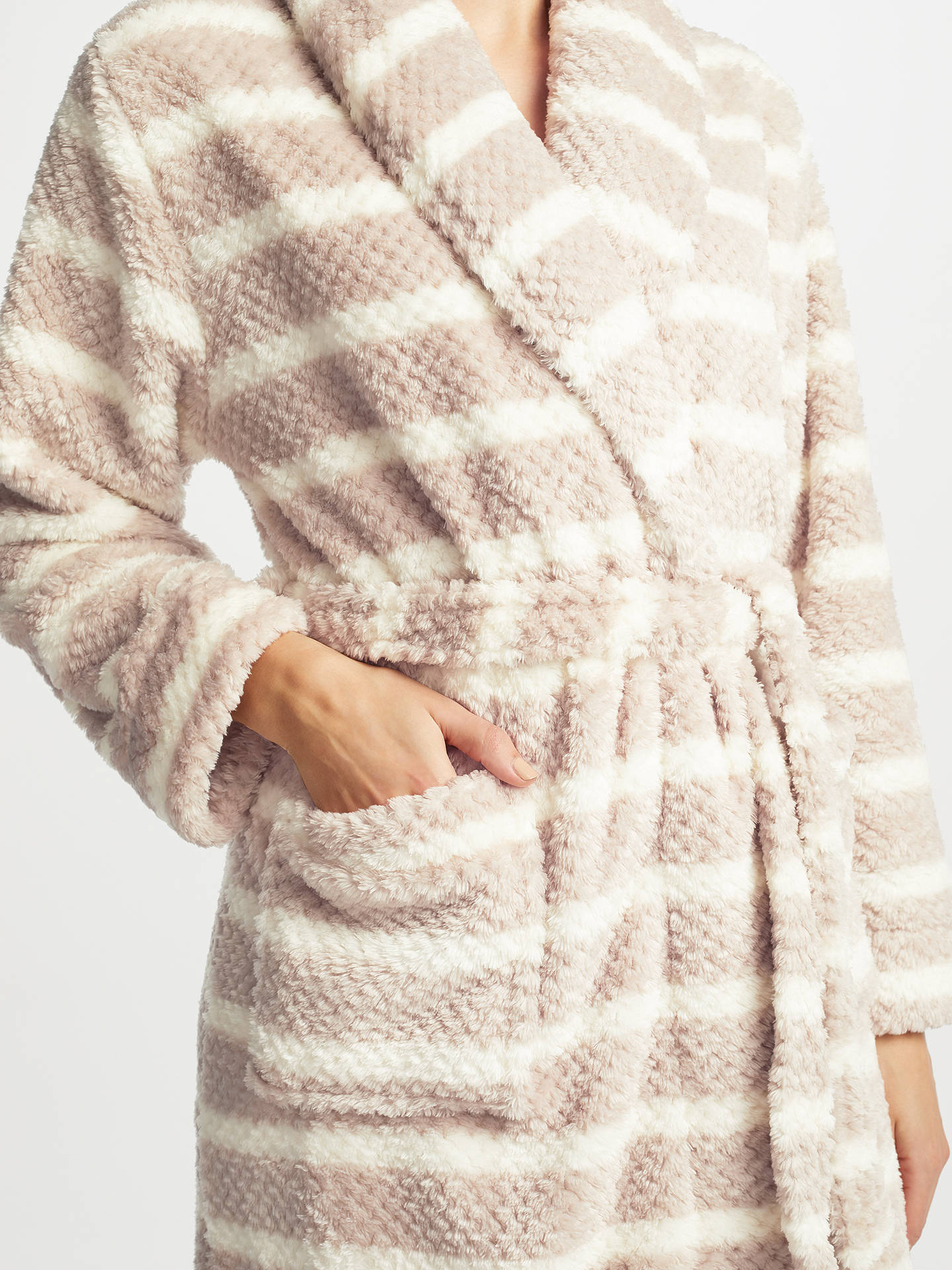 BuyJohn Lewis Stripe Waffle Fleece Dressing Gown, Taupe/Ivory, S Online at johnlewis.com