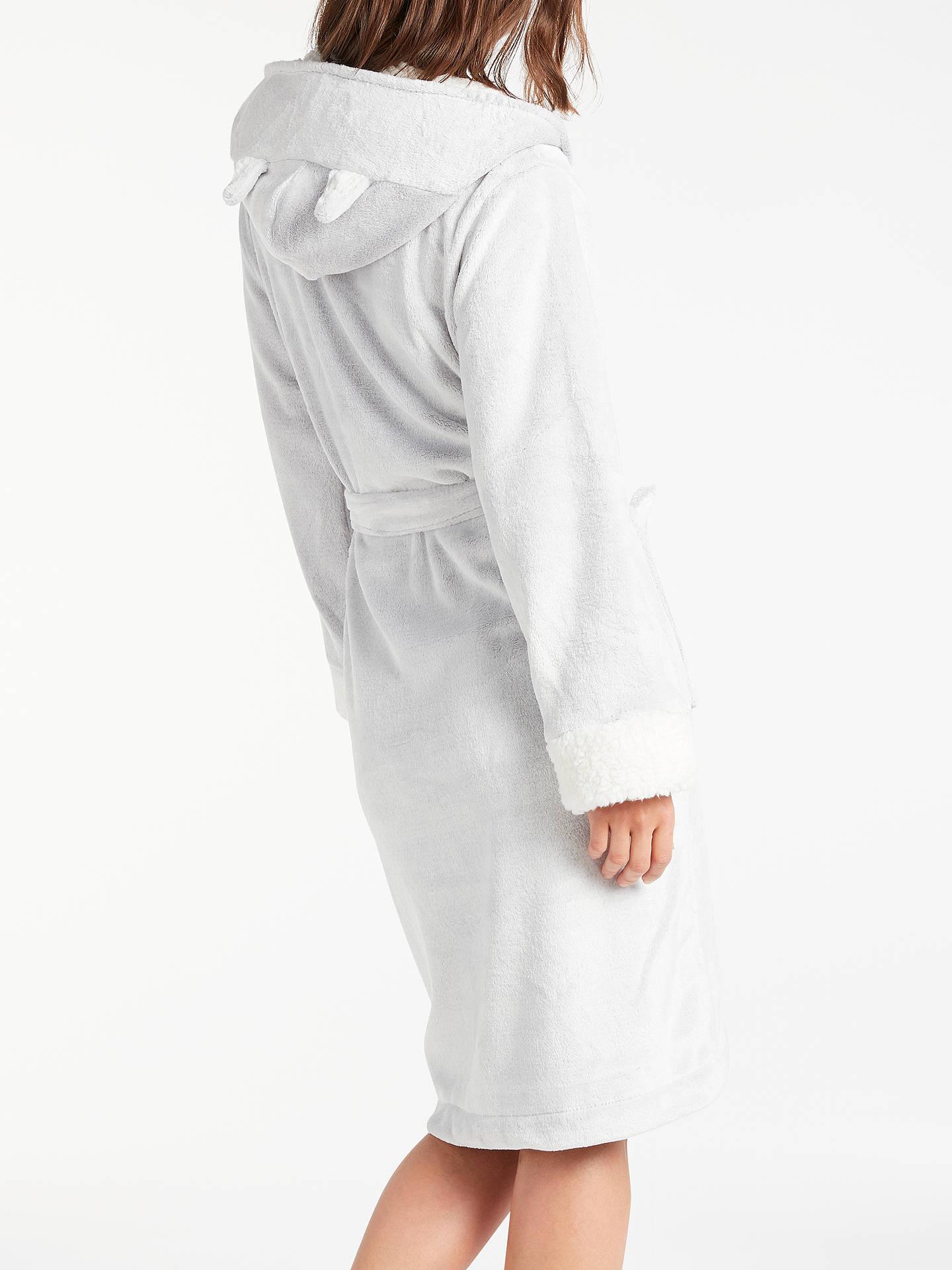 John Lewis Cat Fleece Hooded Dressing Gown, Grey at John Lewis ...