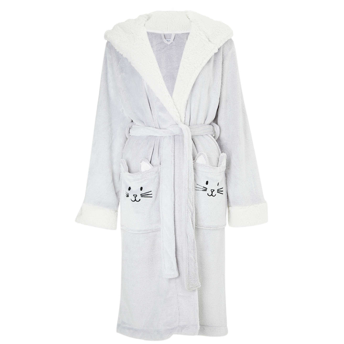 John Lewis Cat Fleece Hooded Dressing Gown, Grey at John Lewis
