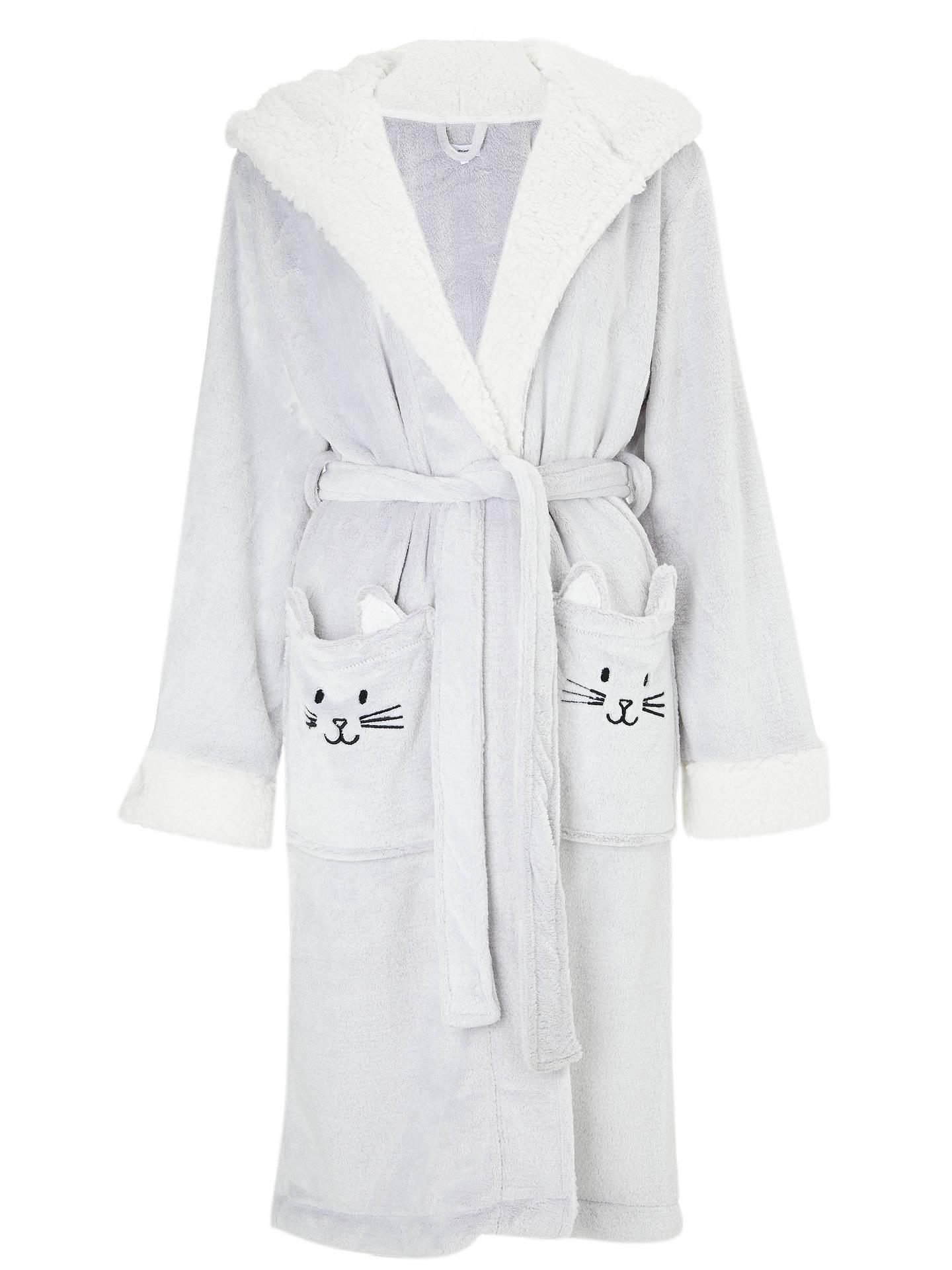 John Lewis Cat Fleece Hooded Dressing Gown Grey At John Lewis
