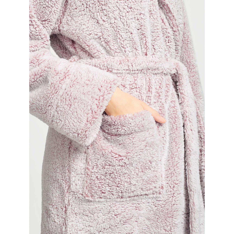 John Lewis Hi Pile Fleece Robe, Nude Pink at John Lewis