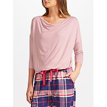 Buy John Lewis Jersey Cowl Neck Lounge Top, Pink Online at johnlewis.com