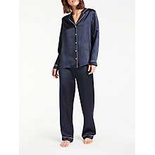 Buy John Lewis Silk Pyjama Set, Blue/Ivory Online at johnlewis.com