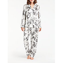 Buy John Lewis Silk Willow Flower Print Pyjama Set, Ivory/Charcoal Online at johnlewis.com