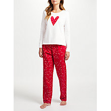 Buy John Lewis Skye Heart Print Pyjama Set, Red/Ivory Online at johnlewis.com