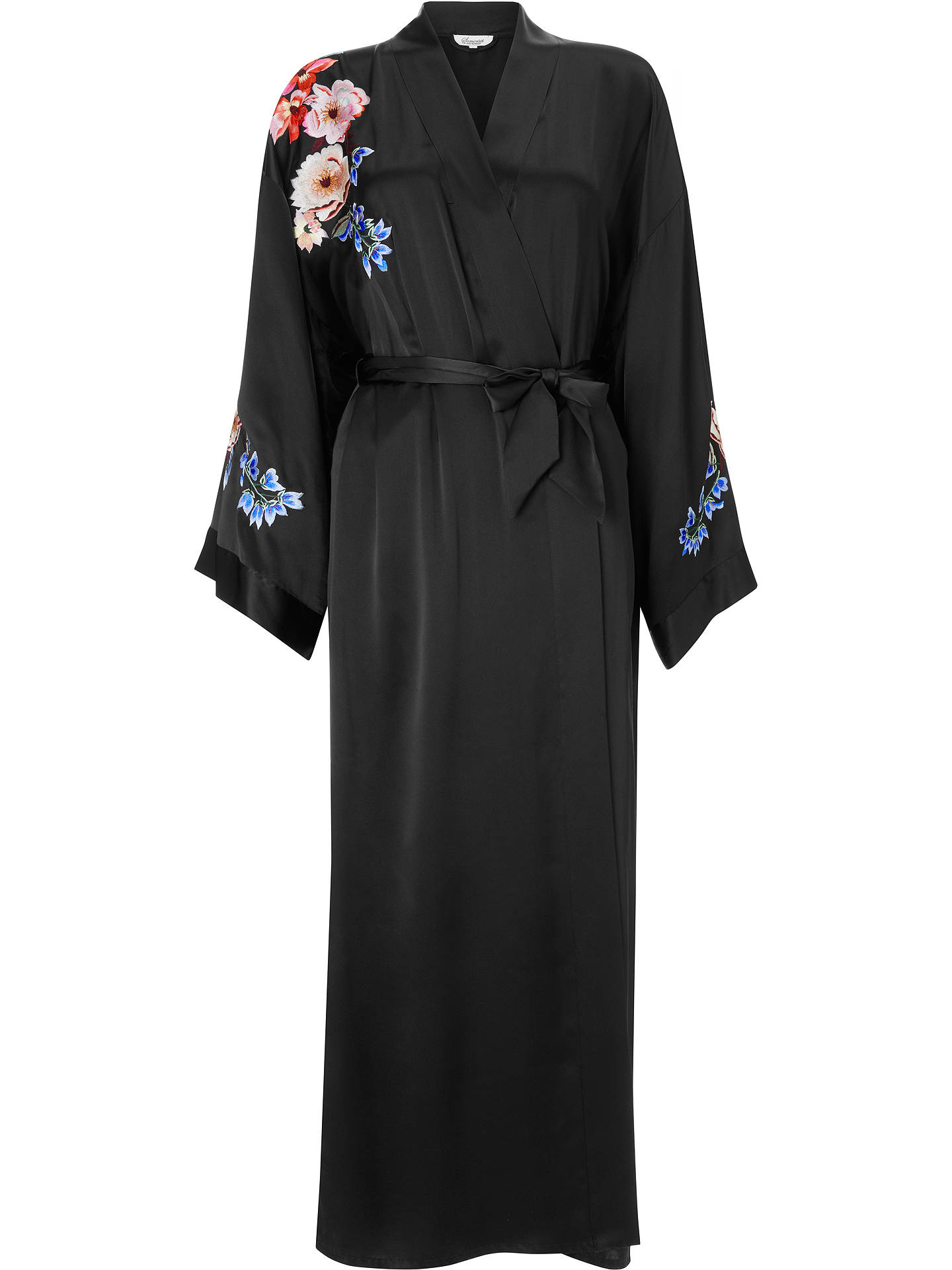 Somerset by Alice Temperley Peony Rose Silk Dressing Gown, Black ...