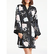 Buy John Lewis Gloria Floral Print Satin Kimono, Black/Multi Online at johnlewis.com