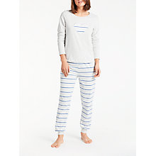 Buy John Lewis Lydia Stripe Heart Pyjama Set, Grey/Blue Online at johnlewis.com