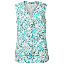 Buy East Linen Sardinia Sleeveless Shirt, Turquoise Online at johnlewis.com