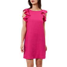 Buy Hobbs Harrieta Linen Ruffle Dress, Pink Online at johnlewis.com