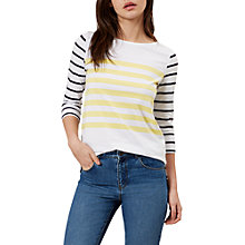 Buy Hobbs Rachel Contrast Breton Stripe T-Shirt, Yellow/Blue Online at johnlewis.com