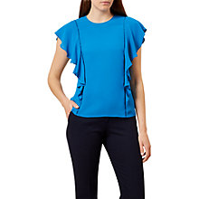 Buy Hobbs Ivy Ruffle Sleeve Blouse, Kingfisher Blue Online at johnlewis.com