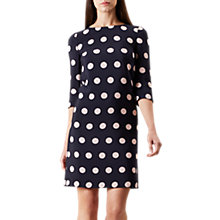 Buy Hobbs Polka Dot Chrissie Dress, Navy/Blossom Online at johnlewis.com