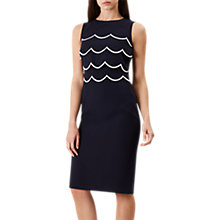 Buy Hobbs Jodie Scalloped Dress, Navy/Ivory Online at johnlewis.com