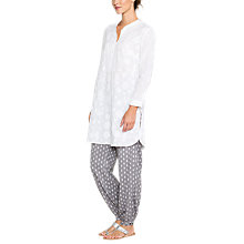 Buy East Chikan Long Shirt, White Online at johnlewis.com