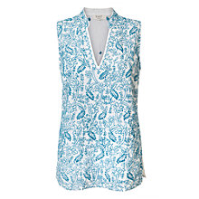 Buy East Chikan Embroidered Sleeveless Blouse, White/Blue Online at johnlewis.com