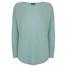 Buy Mint Velvet Curved Hem Oversized Linen Jumper, Aqua Online at johnlewis.com