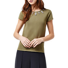 Buy Warehouse Flower Embellished Top, Khaki Online at johnlewis.com