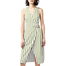 Buy Warehouse Stripe Wrap Dress, Green Online at johnlewis.com