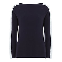 Buy Mint Velvet Ottoman Stitch Knitted Jumper, Navy/White Online at johnlewis.com