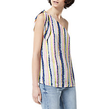 Buy Warehouse One Shoulder Top, Pink Stripe Online at johnlewis.com