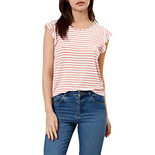 Buy Hobbs Vanessa Striped T-Shirt, Sunkissed Orange Online at johnlewis.com
