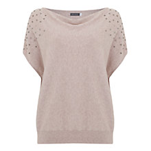 Buy Mint Velvet Stud Detail Slouchy T-Shirt, Light Pink Online at johnlewis.com