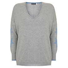 Buy Mint Velvet Star Sleeve Jumper, Light Grey Online at johnlewis.com