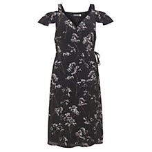 Buy Mint Velvet Erika Print Ruffle Wrap Dress, Black Online at johnlewis.com