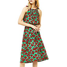 Buy Warehouse Woodblock Daisy Print Dress, Green/Red Online at johnlewis.com
