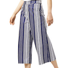 Buy Warehouse Stripe Culottes, Navy Online at johnlewis.com