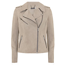 Buy Mint Velvet Suede Zip Biker Jacket, Oyster Online at johnlewis.com