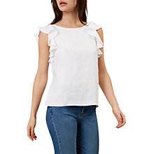 Buy Hobbs Lola Ruffle Top, White Online at johnlewis.com
