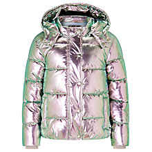 Buy John Lewis Girls' Metallic Jacket, Silver Online at johnlewis.com