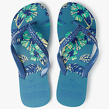 Buy Gandys for John Lewis Tropical Print Flip Flops, Blue Online at johnlewis.com